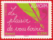 2008-ADHESIF-TIMBRE FRANCE EUROPA-LE PLAISIR DE VOUS ECRIRE-AUTOCOLLANT-Yv.207