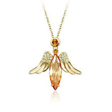 18K ROSE GOLD PLATED GENUINE TOPAZ/CLEAR CZ & AUSTRIAN CRYSTAL ANGEL NECKLACE