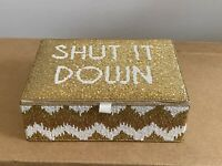 Pottery Barn PB Teen Rachel Zoe Metallic Beaded Jewelry Box Shut It Down Chevron