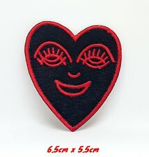 Happy Heart Red on black Embroidered Iron/Sew on Patch #1239R