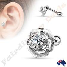 316L Surgical Steel Silver Ion Plated Rose with Centre CZ Tragus/Cartilage Stud