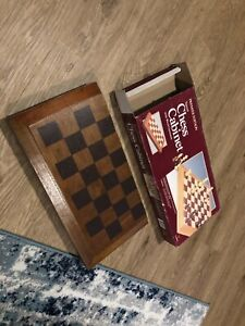 Vintage premier ed Tapered Wood Chess Cabinet with wood chessmen With All Pieces