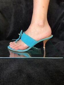 Nine West Dunley   turquoise / blue suede/nubuck, heeled thongs,shoes. Size 7 M
