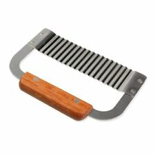 Soap Cutter 1 Pcs Stainless Steel Crinkle Wooden Handle Wavy Diy Wax Slicer Tool
