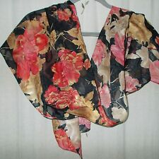 Caramel & Coral Floral with Black Background, Silk Oblong Scarf