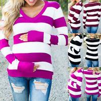 Women Pregnancy V Neck Long Sleeve Tops Tee Shirt Stripe Casual Maternity Blouse