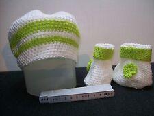 Babyset★2-teilig★ gehäkelt Taufe ★ Schühchen+Mütze  weiß/grün NEU
