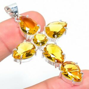 "Citrine Quartz Gemstone Handmade 925 Sterling Silver Jewelry Pendant 2.44"""
