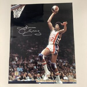 Julius Erving Signed Photo 16x20 Basketball HOF Nets Dr J Dunk Autograph JSA COA