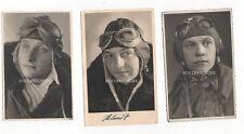 3 Original Portrait Fotos Luftwaffe Pilot Fliegerkopfhaube / Fliegerbrille 2. WK