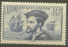 "FRANCE STAMP TIMBRE 297 "" JACQUES CARTIER, BATEAU, CANADA 1F50"" NEUF xx TTB B476"