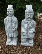 Steinfigur 2-er Set chinesische Krieger (36 cm) Frostfest Terrakotta Krieger