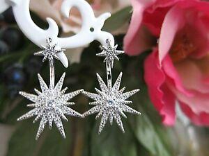 Fashionable Two Zircon Silver Cluster Stars Shape Stud Drop Earrings.