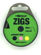 Korda Barbless Pre-Tied Zig Rigs Size 10 Hook On EVA Winder: 8ft