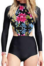 Conservative Print Long Sleeve Surfing One Piece Swimsuit Sport Rash guard 8 L
