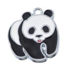 10Pcs Silver Tone Enamel Panda Charms Pendants 23x20mm