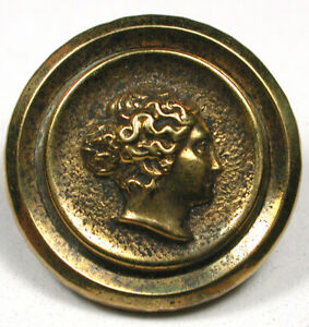 """Antique Brass Button Womans' Head in Profile 13/16""""   1890s"""