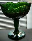 Imperial Glass Green Carnival Daisy & Button Pedestal Compote Bowl or Candy Dish