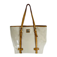 Dooney and Bourke Vinyl Cream Tote With Tan Leather Accents Purse Shoulder Bag