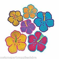 12 Large Glitter Hibiscus Cutouts..Hawaiian Tropical Luau Wall Decorations.Props