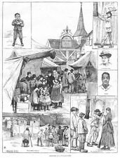 Scene in un villaggio equa; COCCO timido, SHOOTING GALLERY ETC-stampa antica 1887