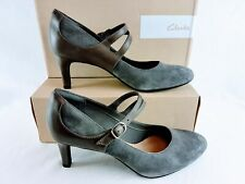 Clarks Women's Dancer Reece Pumps with Straps in Grey, Size 10 Us