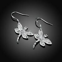 BERRICLE Sterling Silver CZ Dragonfly Fish Hook Fashion Dangle Drop Earrings