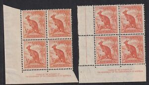AUSTRALIA PRE-DECIMAL 1/2d ORANGE ROO IMPRINT BLOCKS FOUR NO WMK AND CofA WMK M