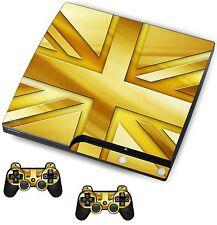 Gold Union Jack Autocollant / Peau PS3 playstation 3 console / contrôleurs à distance, PSK11