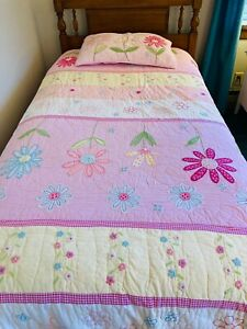 Pottery Barn Kids - Pink Daisy Garden Twin Quilt and Sham -Two Available--#102