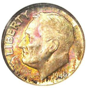 1949-D Roosevelt Dime 10C Rainbow Coin - NGC MS68 - Rare in MS68 - $650 Value!