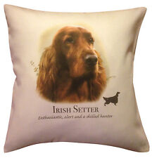More details for irish red setter dog | quality cream or white 100% cotton cushion cover & zip