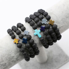 Yoga Jewelry Men Women Lava Rock Stone Turquoise Cross Beaded Elastic Bracelet