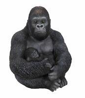 Gorilla & Baby Zoo - Lifelike Garden Ornament - Indoor Outdoor Garden Real Life