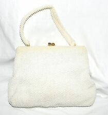 Vintage 1950s White Corde Lumured Bead Handbag Made in Hong Kong
