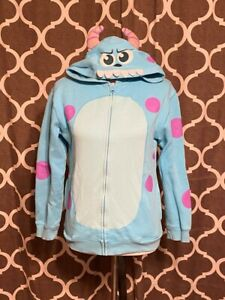 Disney Pixar Monsters Inc. Sully Blue Hoodie Zip Up  w/ Face Horns Youth Size XL