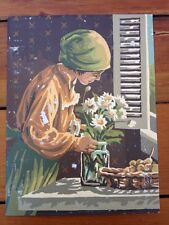 Vintage Mid Century Girl Floral Daisies Flowers Paint by Numbers PBN Painting