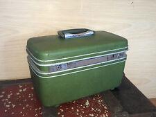Vintage Samsonite Silhouette Avocado Hard Shell Train Case with Mirror Stash Box