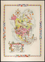 1951 - Mapa América Norte - Litografía de Liozu - Map of North America