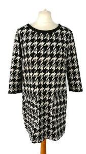 M&S Size 14 Black White Dogtooth Tunic Shift Dress Pockets 3/4 Sleeve Round Neck