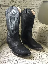 Rudel Mens Western Cowboy Boots SZ 8 1/2EE Made In Mexico Glove Leather Black