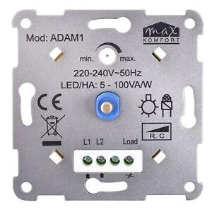Dimmer Drehdimmer LED Phasenabschnitt Halogen Druck-Wechselschalter 5-100W R,C