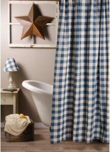 Colonial Blue and Buttermilk Buffalo Check Farmhouse Shower Curtain Bath Raghu