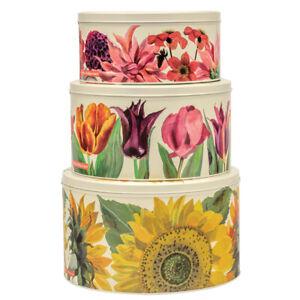 Emma Bridgewater Flowers Set of Three Round Nesting Cake Tins Sunflower & Tulips