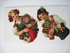 Vintage Christmas Die Cuts of Czech Boy & Girl w/ Candy Gifts *