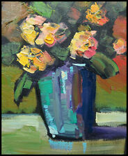 HAWKINS Colorfull Yellow Red Roses Vase Impressionism  Study  Oil  Painting  Art