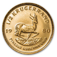 1980 South Africa 1/2 oz Gold Krugerrand BU - SKU #88135