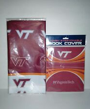 Markings VA Tech Plastic Table Cover And Jumbo Stretchable Book Cover Both New
