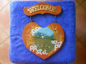 WELCOME 2 PCE PLAQUE COUNTRY COTTAGE SCENE HAND PAINTED