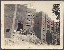 Vintage Photo Unusual Work Crew Brick House in Demolition or Construction 674722